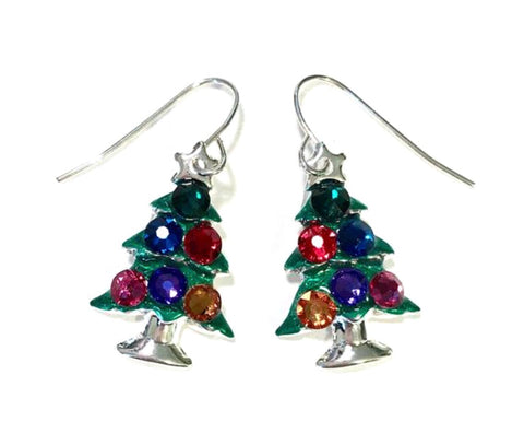 Jewel Tone Christmas Tree Earrings