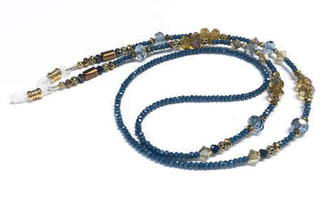 Eyeglass Chain or Holder - Denim Blue Color Beaded