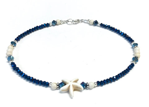 Starfish Ankle Bracelet - beach anklet - sterling silver - metallic blue