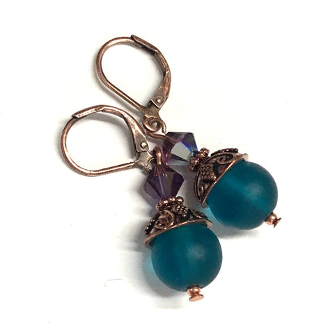 Teal Glass and Amethyst Crystal Copper Leverback Earrings