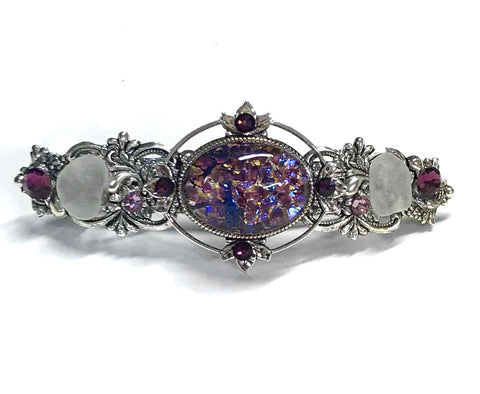 Amethyst Glass Opal Hair Barrette - French Clip