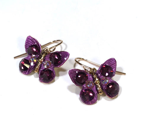 Butterfly Earrings - Purple - Amethyst Crystal - Butterfly Jewelry