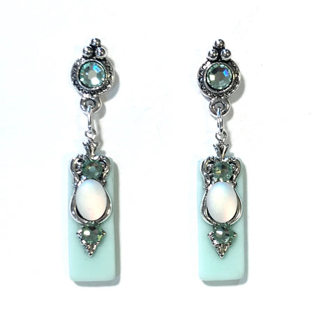 Mint Green Earrings - Crystal Post - Stained Glass