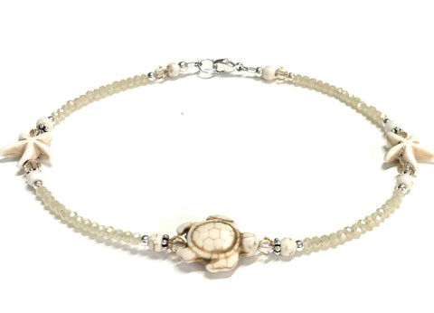 turtle and starfish anklet - sterling silver - neutral color