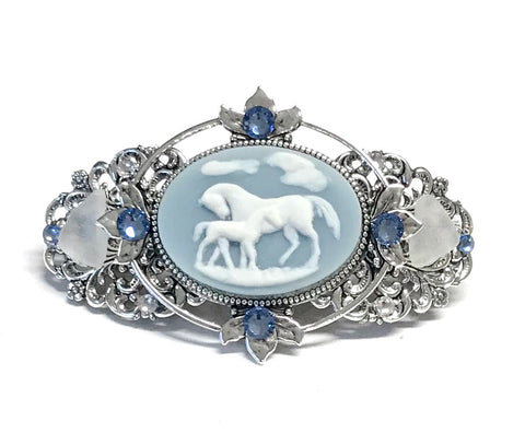 Mare and Foal Arabian Horse Cameo Hair Barrette