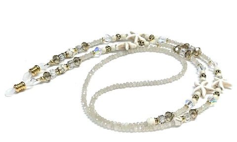 neutral color eyeglass chain with starfish beads