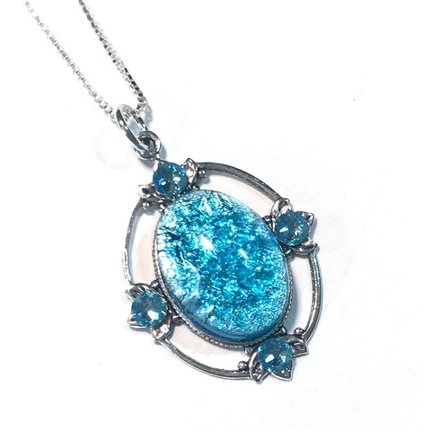 Aqua Glass Opal Necklace - Sterling Silver Chain