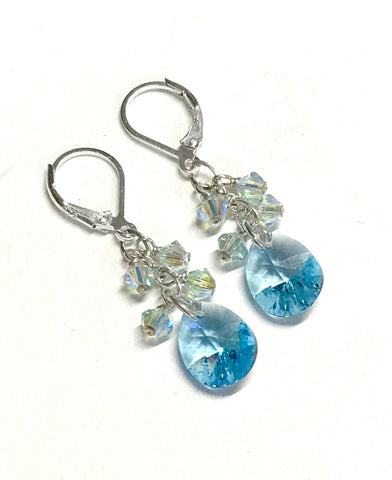 Aquamarine crystal cluster drop earrings with sterling silver leverbacks