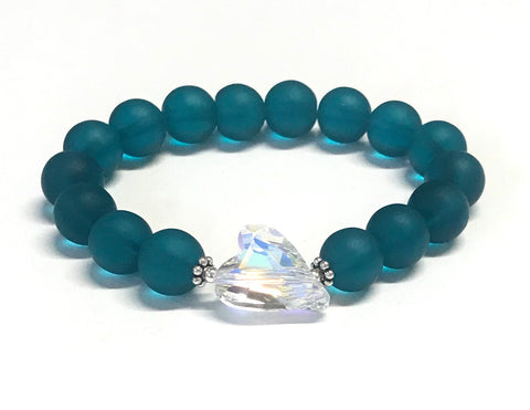 Wild Heart Crystal Beaded Stretch Bracelet - Teal Matte Glass Beads