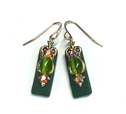 Olive Green Stained Glass Earrings