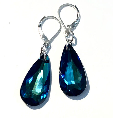 Bermuda Blue Crystal Teardrop Leverback Earrings