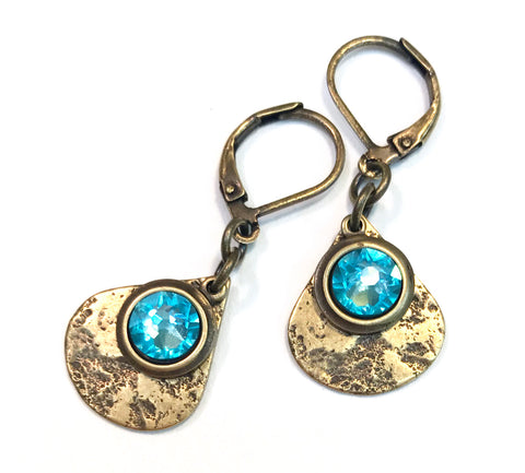Light Turquoise Swarovski Crystal Brass Teardrop Leverback Earrings - Hurstjewelry
