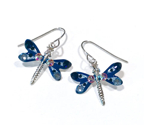 Dragonfly Earrings - Navy and Light Blue - Nature Jewelry