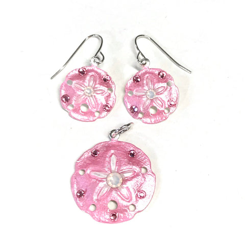 Sand Dollar Earrings and Pendant Set Pink
