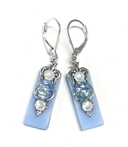 Light Blue Stained Glass Leverback Earrings