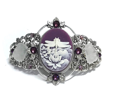 Dragonfly Hair Barrette Purple and White Cameo