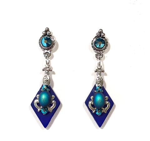 Cobalt Blue Earrings - Crystal Post - Stained Glass