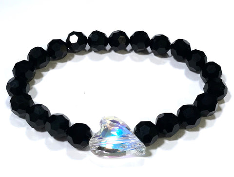 Wild Heart Crystal Bracelet - Crystal AB and Jet - Stretch