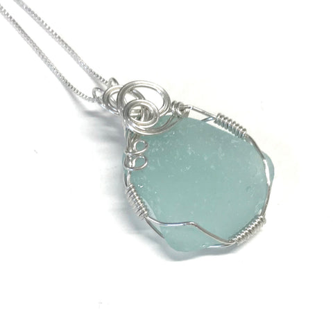 Aqua Seaglass Necklace - Sterling Silver