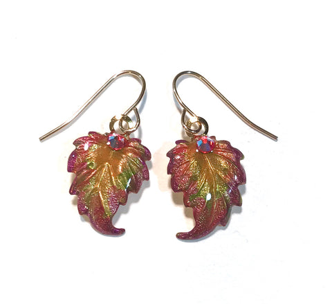 Autumn Leaves Earrings - Hand Painted - Fall Earrings
