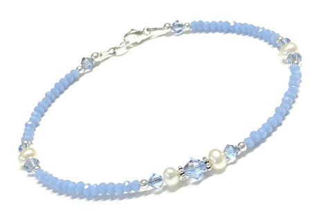 Light Blue Anklet - Pearl and Crystal - Sterling Silver - 9 - 12 Inches Available