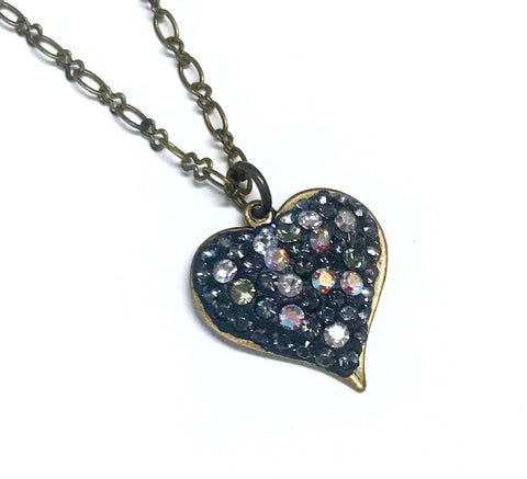 Heart Necklace - Pave' Crystal - Antiqued Brass