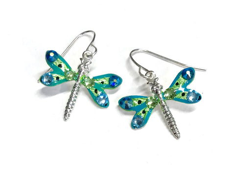 Dragonfly Earrings - Hand Painted - Aqua and Lime Green - Nature Jewelry