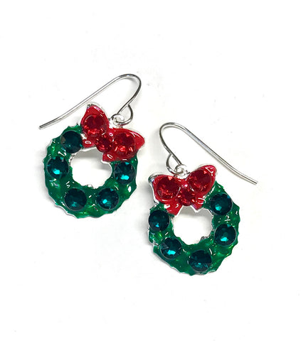 Christmas Wreath Earrings - Sterling Silver Ear Wires