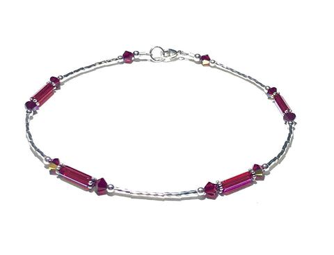 Anklet - Ankle Bracelet - Red - Sterling Silver