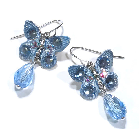 Butterfly Earrings Light Sapphire Crystal