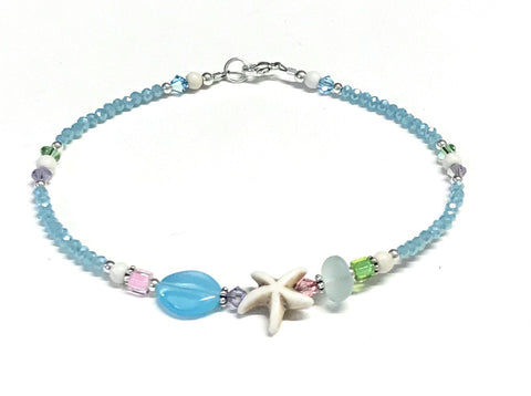Starfish anklet with an assortment of glass and crystal beads