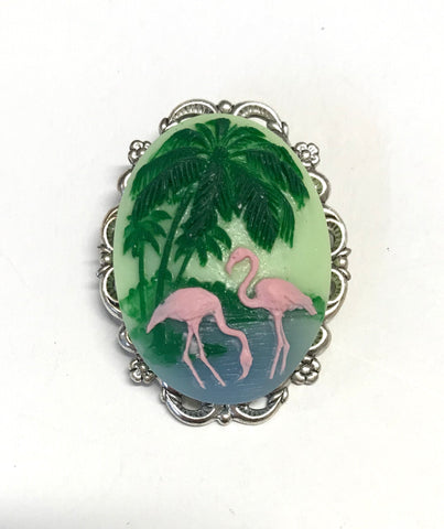 Pink Flamingo Cameo Brooch or Pendant