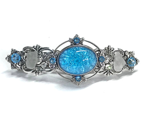 Aqua Glass Opal Hair Barrette