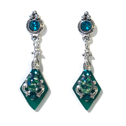 Green Glass Opal Earrings - Crystal Post - Stained Glass