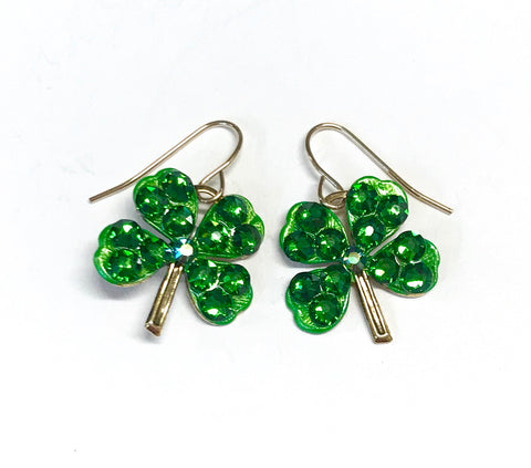 Shamrock earrings with sparkling crystals
