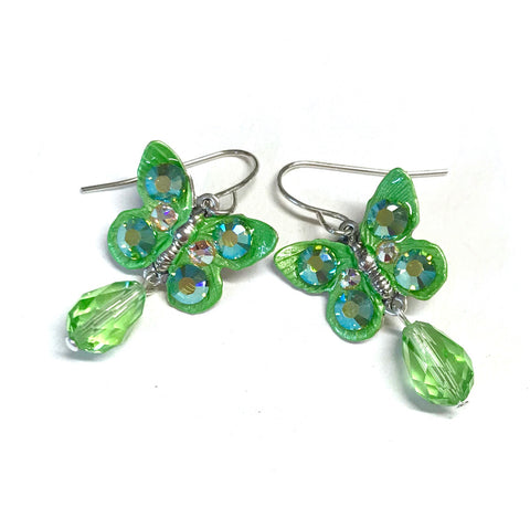 Butterfly Earrings Peridot Crystal