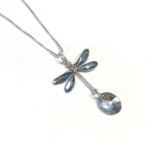 Dragonfly Necklace - Blue Shade - Sterling Silver Chain