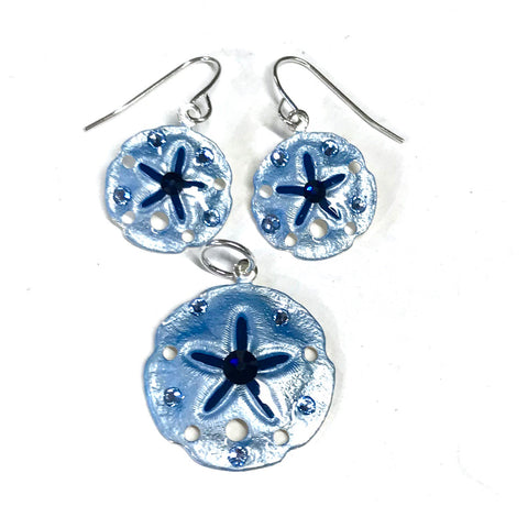 Sand Dollar Earrings and Pendant Set Light Denim Blue