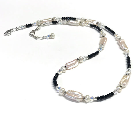 Freshwater Pearl and Crystal Necklace - Sterling Silver - Biwa Stick Pearl