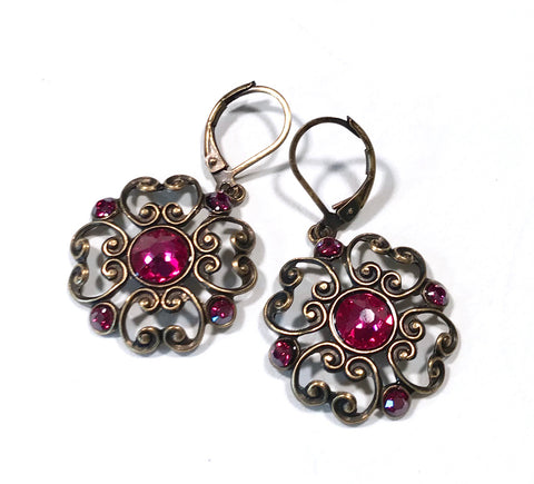 Filigree Earrings - Fuschia  Crystal - Brass Leverbacks