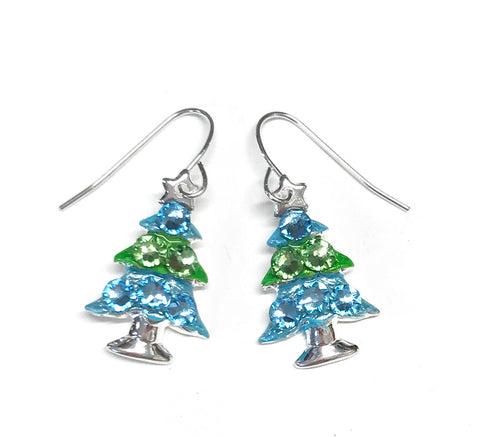 Aqua and Citrus Green Christmas Tree Earrings