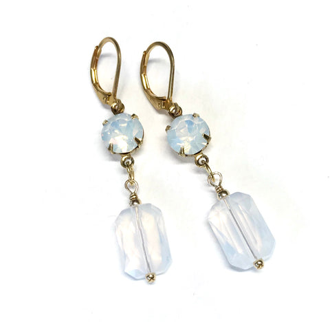 White Opal Crystal Leverback Earrings