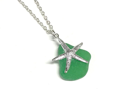 Green Seaglass Starfish Necklace - Coastal Jewelry - Seaglass Jewelry