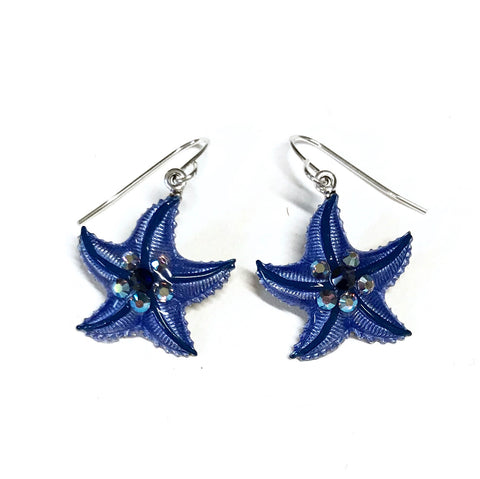 Starfish Earrings - Hand Painted Denim Blue