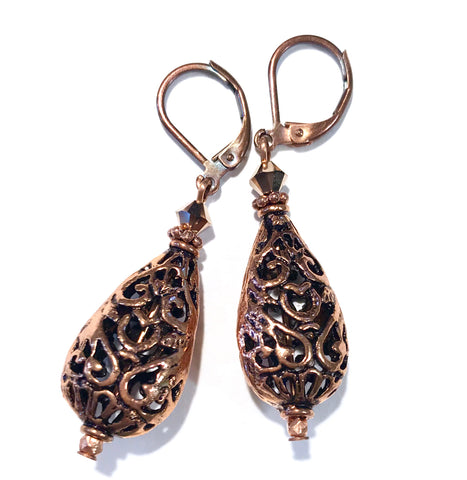 Copper Filigree Teardrop Leverback Earrings - Hurstjewelry