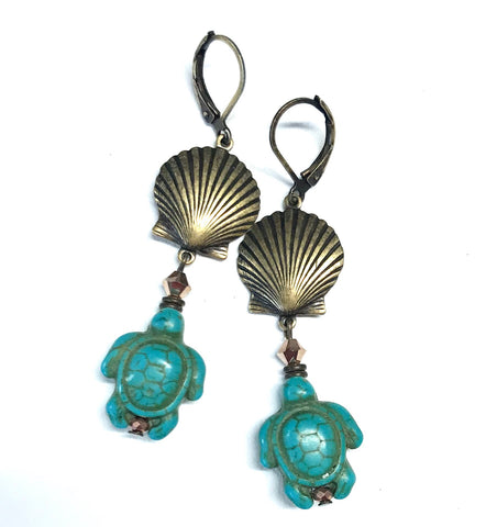 Shell and Turtle Earrings Turquoise Magnesite