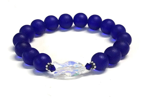 Crystal Fish and Cobalt Blue Matte Glass Stretch Bracelet