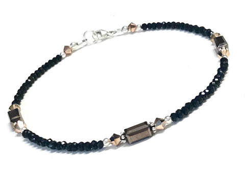 Black and Bronze Anklet - Ankle Bracelet - Sterling Silver