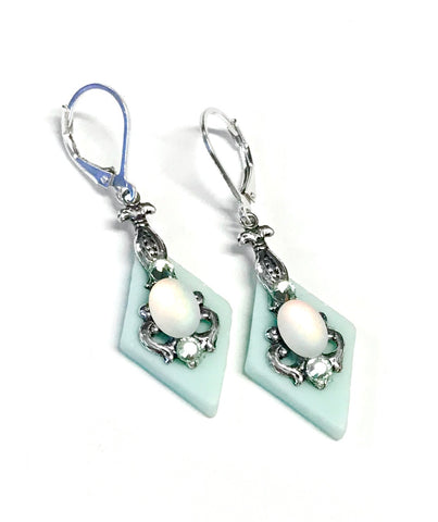 Seafoam Green Stained Glass Earrings - Leverbacks