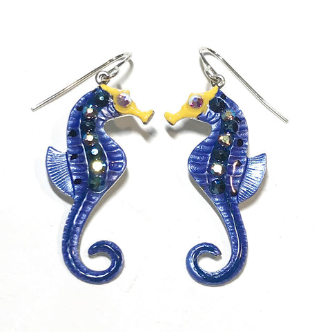 Seahorse Earrings - Seahorse Jewelry - Denim Blue